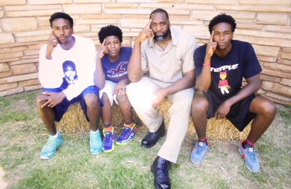 Kwame dedicates most of his monthly phone minutes to keeping in touch with his three sons: his twins Jelani and Jalil, and his youngest son Jonas.  Courtesy of the Free Kwame Project.