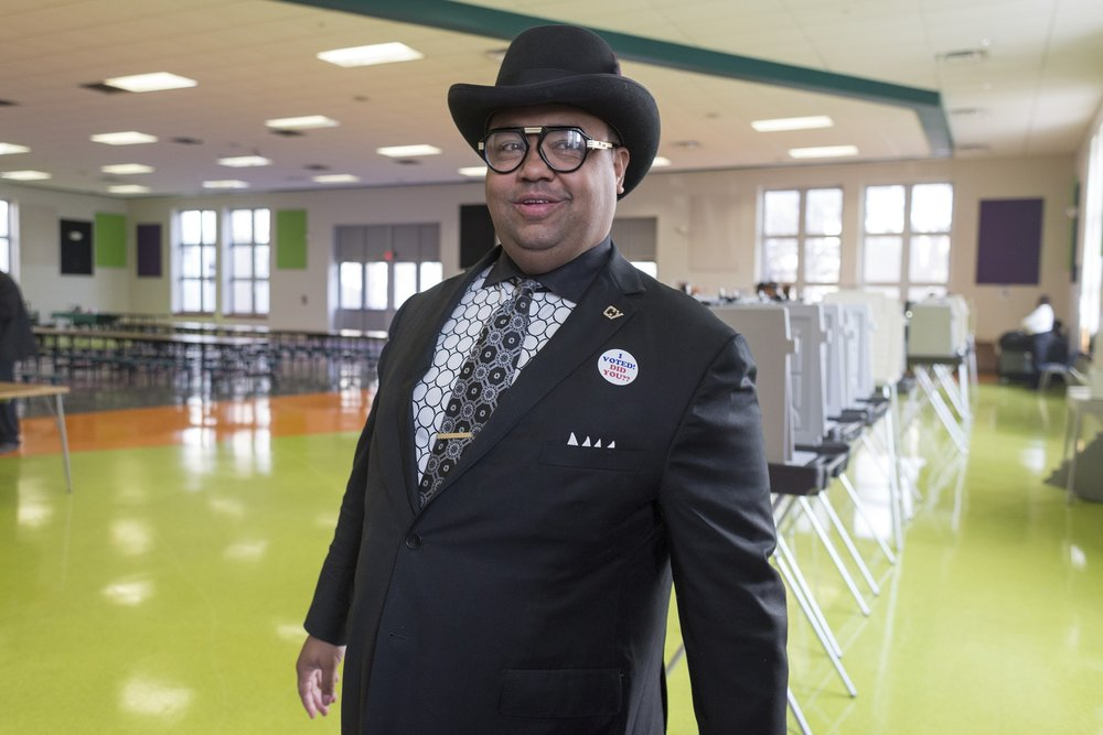 Coleman A. Young II pauses for a moment after voting at the Butzel Family Recreation Center on Tuesday, Nov. 7, 2017 in Detroit.  Courtesy of the Detroit Free Press.