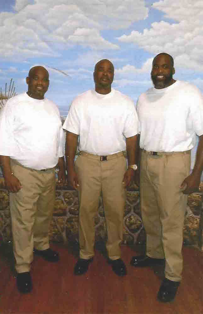 Kwame Kilpatrick, right, with one of his cellmates and another inmate. Kwame says that hearing about the life stories and long sentences of his fellow inmates has been an eye-opening experience.  Courtesy of the Free Kwame Project.