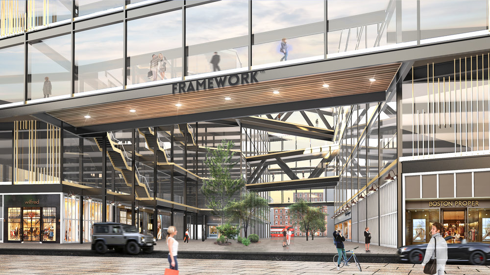 Rendering: Inner courtyard and ground floor retail at the future Framework, Old Oak.