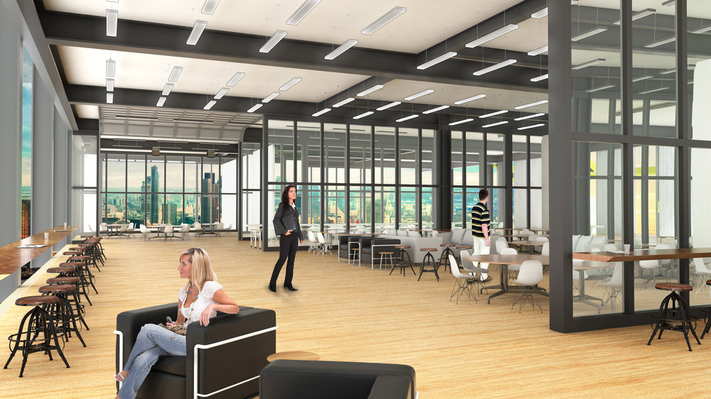 Rendering: Interior view illustrating the individual entrepreneur co-working space (opposite side of the white sliding partitions pictured above).