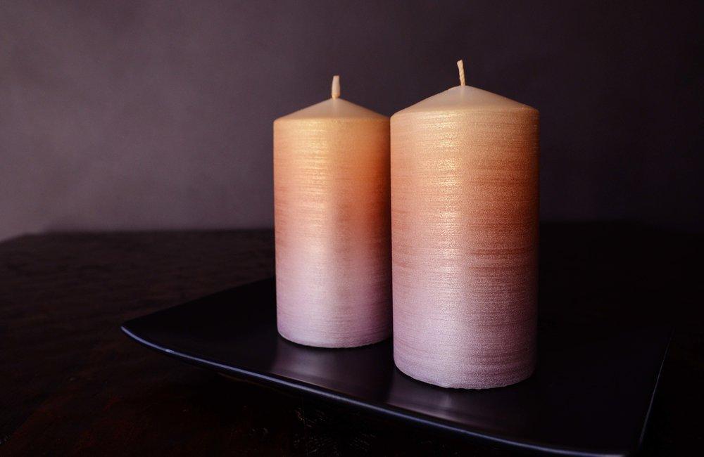 Sparkling Sunset Ombré Pillar Candles