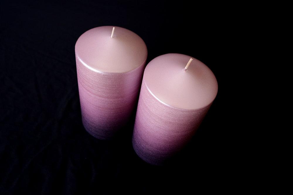 Shimmering Purple Ombré Pillar Candles