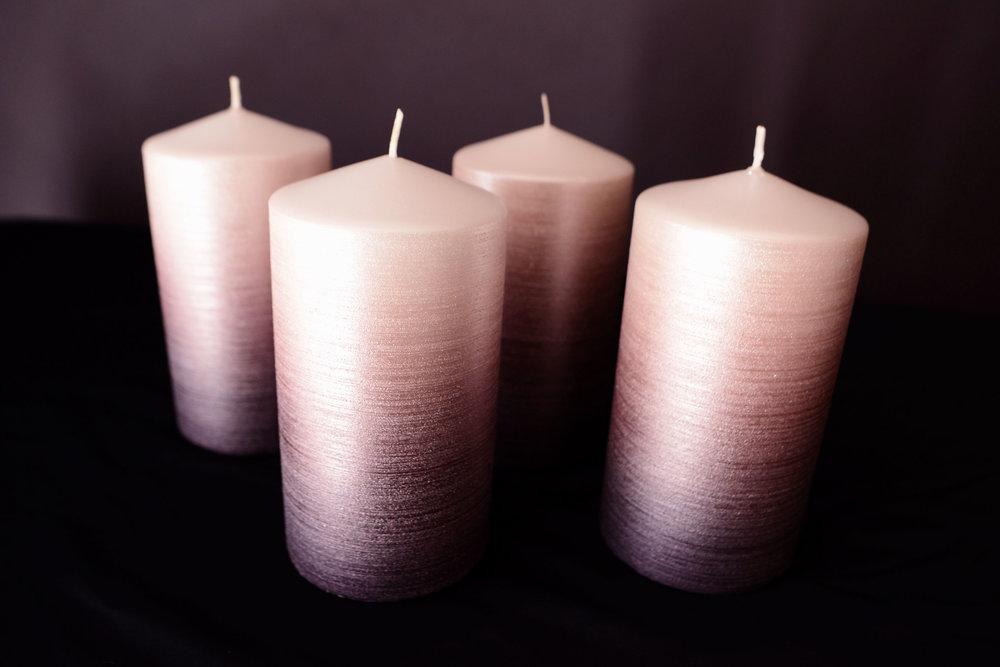 Rose Gold Ombré Crystal Candles