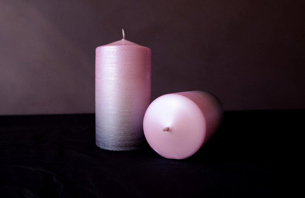 Penumbral Pink Ombré Pillar Candles