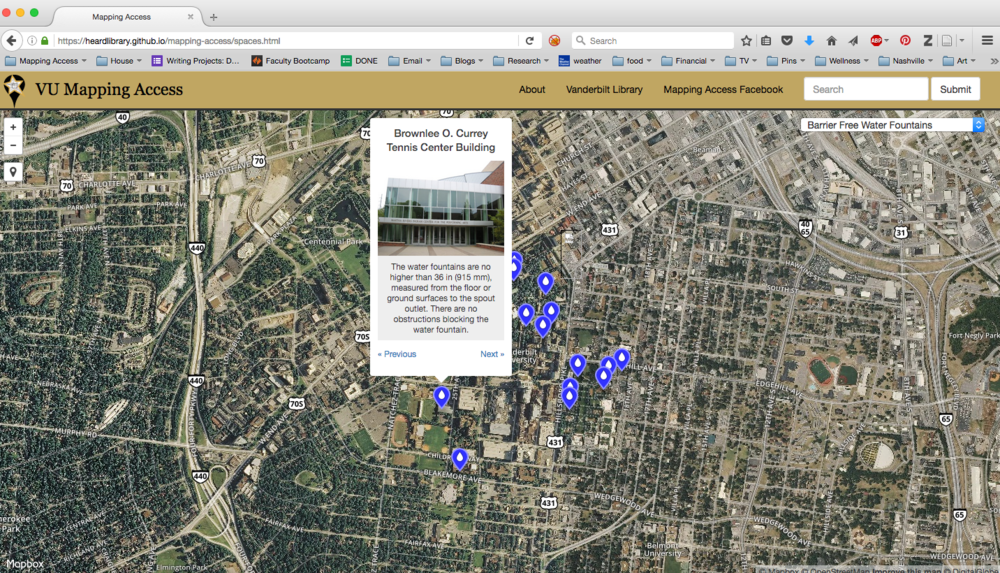 Image: A screenshot of a map viewed through a web browser. Blue dots indicate the locations of accessible water fountains and a pop-up from one dot shows an image of a building, describing the accessibility features of the water fountains inside.