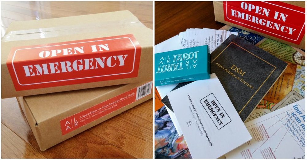 Image description: two side-by-side images of Open in Emergency, a special issue of the Asian American Literary Review. The first shows the labeled cadrboard box and the second, a smattering of materials including a blue tarot deck box and a hacked DSM.  Source:  AALR