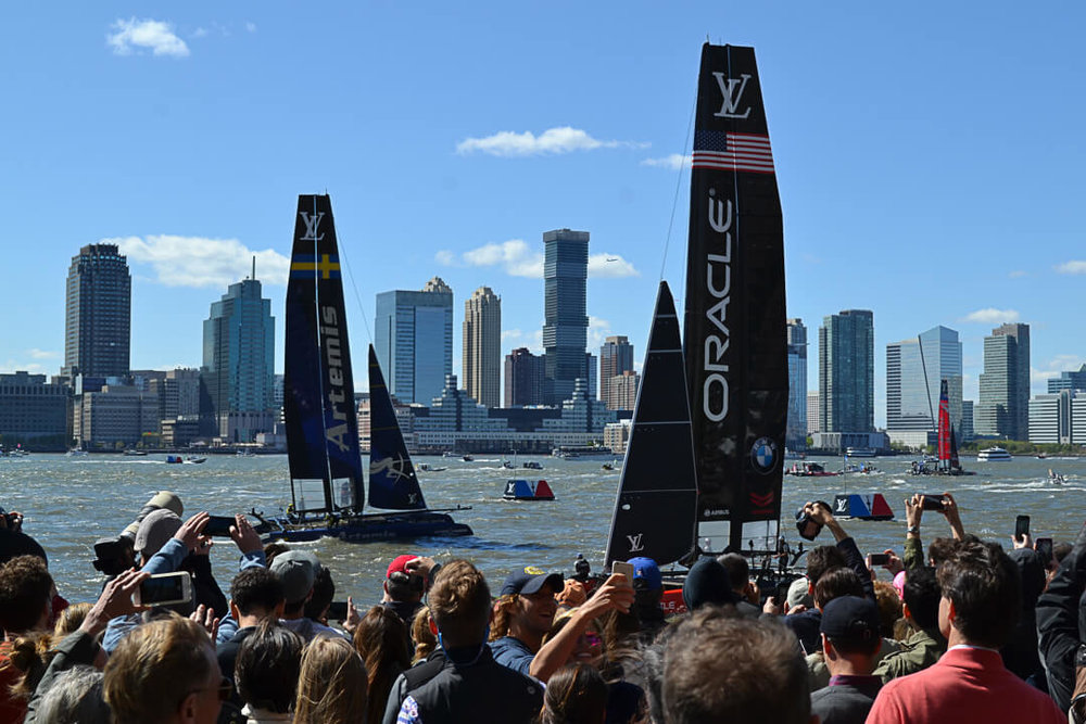 America's Cup visits New York City with the world's fastest sail boats racing in the Hudson River.