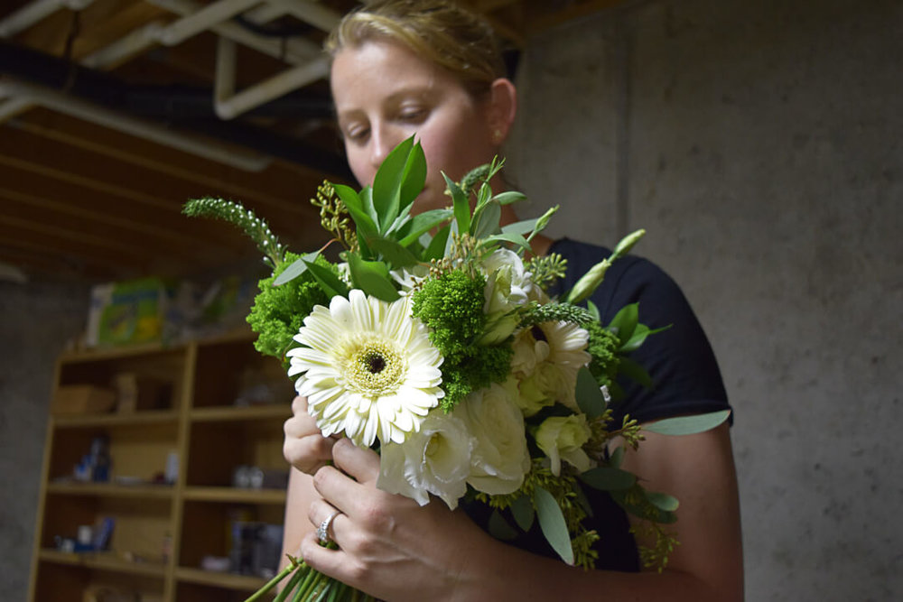 Haley makes her wedding bouquet by hand.