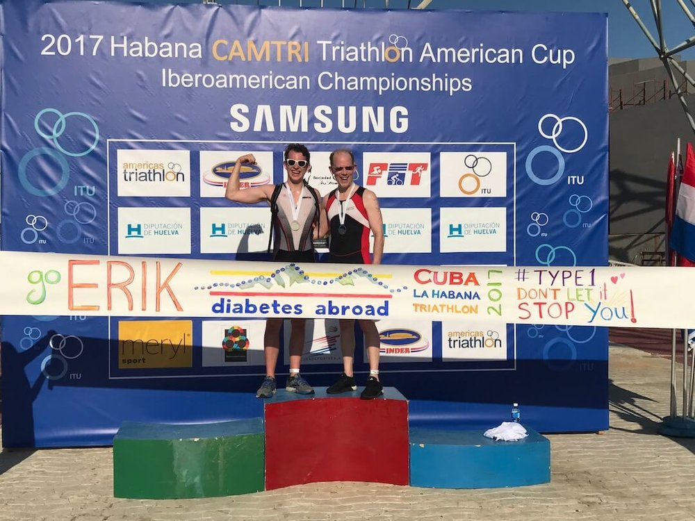Erik Douds, type 1 diabetic endurance athlete, and his father Bryn finish La Habana Sprint Triathlon put on by Multirace