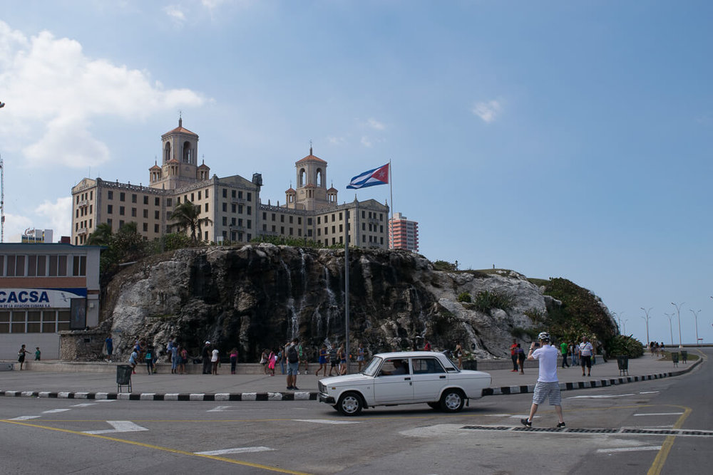 Hotel Nacional de Cuba overlooks the finish line of the race and the Malecon.