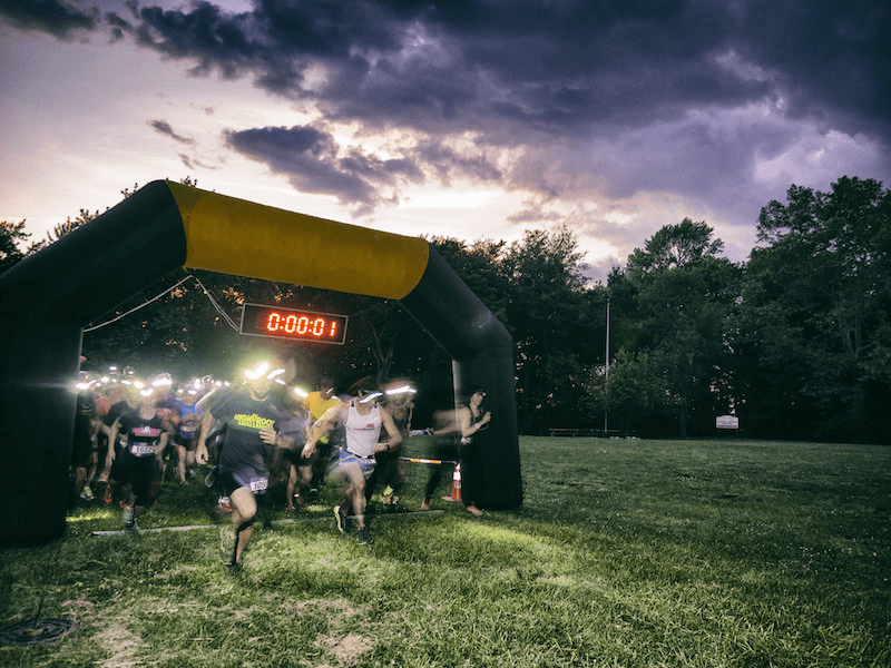 The start of OutdoorFest's 5K campout run