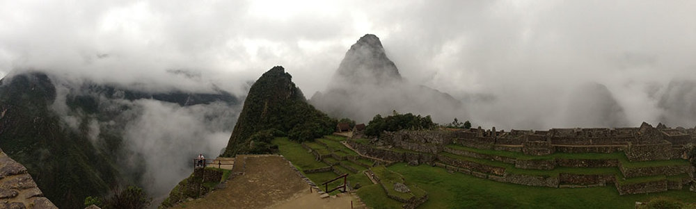 The clouds roll over the mountain peaks at Machu Picchu for Amy's 28th birthday