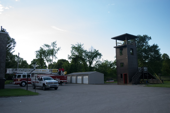 The Berea Firehouse hosts cyclists to sleep behind the shed (or discretely in the fire tower.)