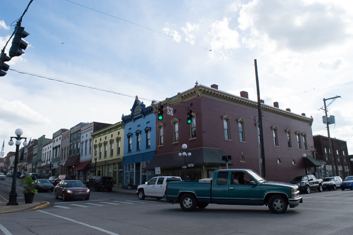 Downtown Harrodsburg with colorful historic buildings