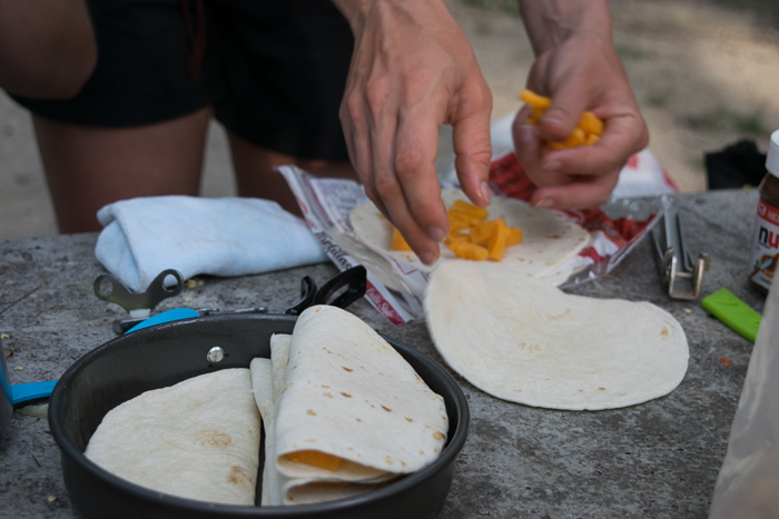 Staying at a campsite in Mammoth Cave National Park means campfire quesadillas