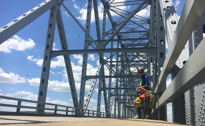 Crossing Shawneetown Bridge from Kentucky into Illinois.