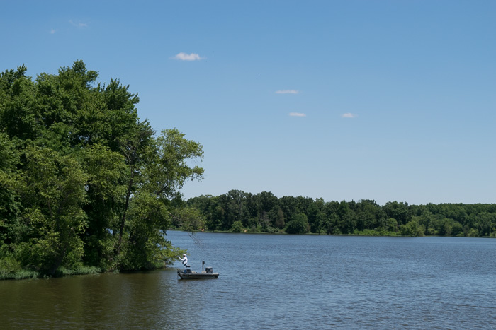 A man fishing on one of the lakes right before arriving in Carbondale