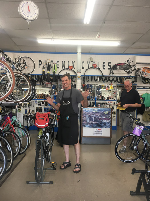 Fenders are added at the Phoenix Bicycle shop
