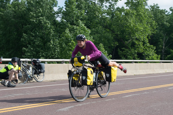 Inspired by the TransAm racers, and a YouTube video, T practices tricks on her touring bike.
