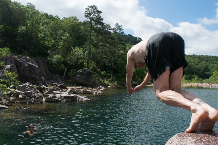Mark dives off a rock into the Johnson Shut Ins State Park watering hole.