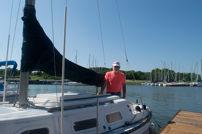 Jack out on his sail boat in Greenfield, MO