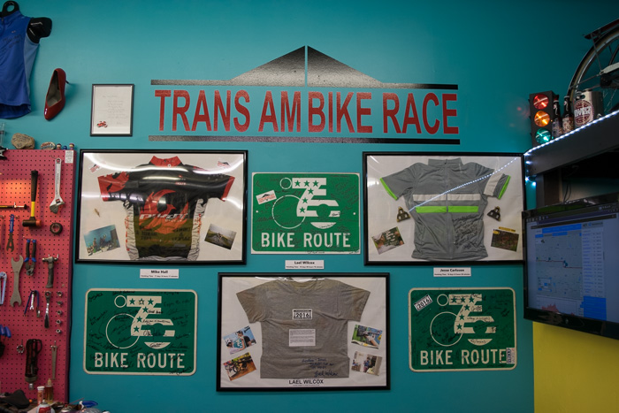 The Newton Bike Shop remains open 24/7 for the cyclists of the Trans Am Race