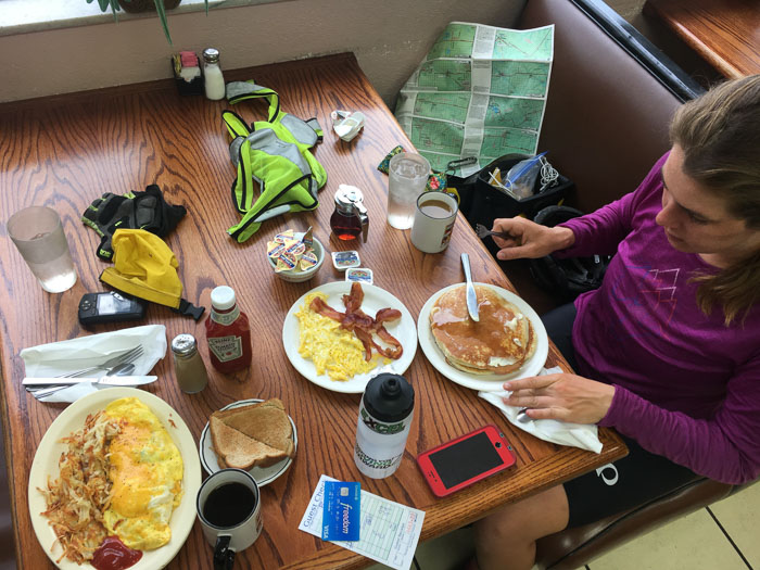 Second breakfast at a diner along the way. I eat vege omlettes, whole wheat toast, and as much coffee as possible