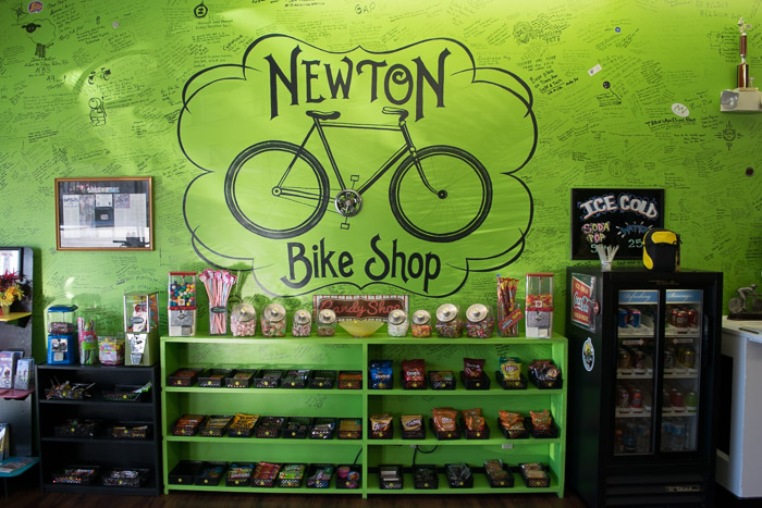 Everyone is welcome to sign the wall when they pass by the Newton Bike Shop