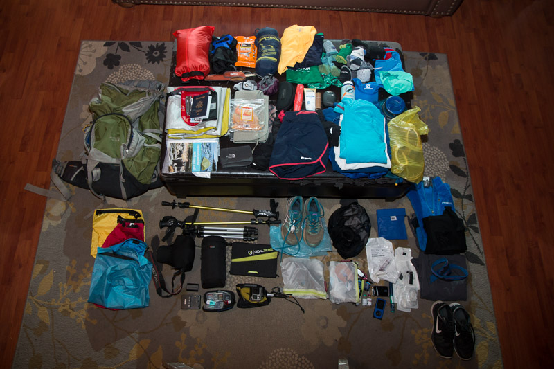 Blair Ryan is a bit more organized. Buy the gear: Frio Insulin Cooling Case (blue); RoadID medical alert (for running shoes); Goal Zero Solar Panel wilderness battery charger; Patagonia Women's trail running shorts; the two photographers both choosing to bring sneakers instead of hiking boots (priceless).