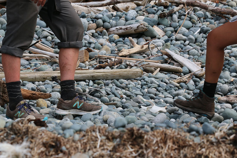 "A puma jaw bone is spotted as I trek by in a pair of ""North Coast Trail"" shoes (photo by Blair Ryan)"