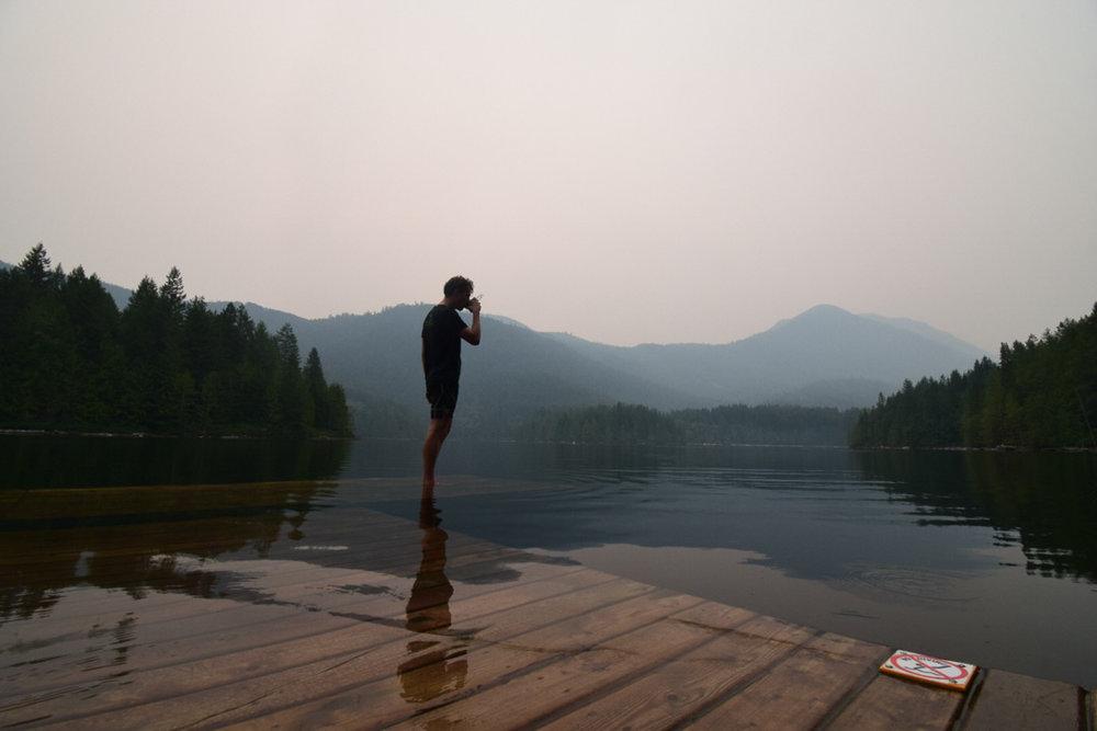 Drinking coffee at Klein Lake amongst all the smoke