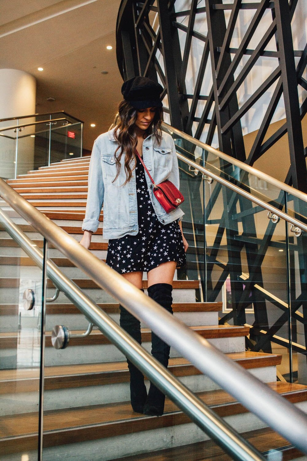 dinner outfit details on on Trends to Try: Newsboy Hat post!