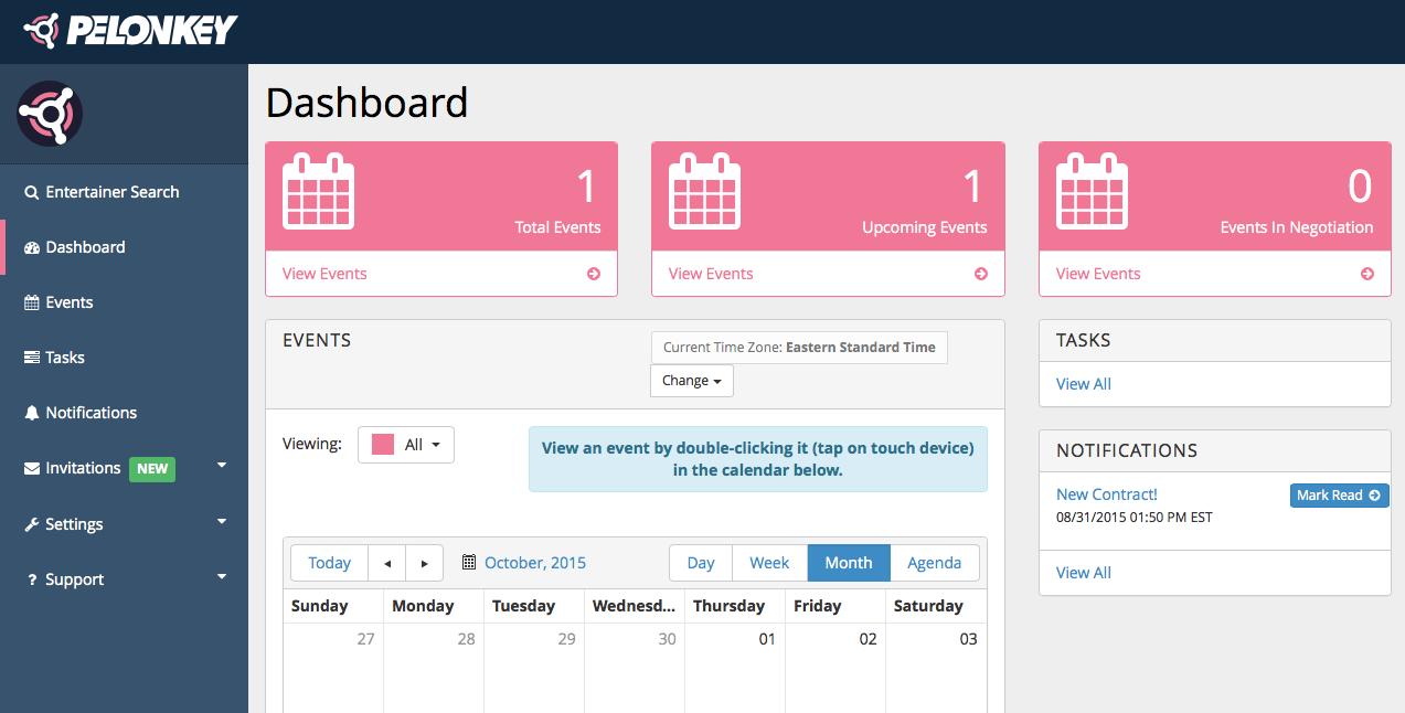 event planner dash screenshot