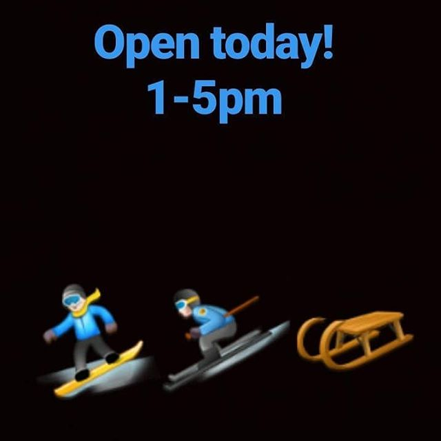 We are open today! Come out and enjoy the snow day! Great fresh powder on our terrain park! Open 1-5pm. Hope to see you out here! Bring the family and friends.