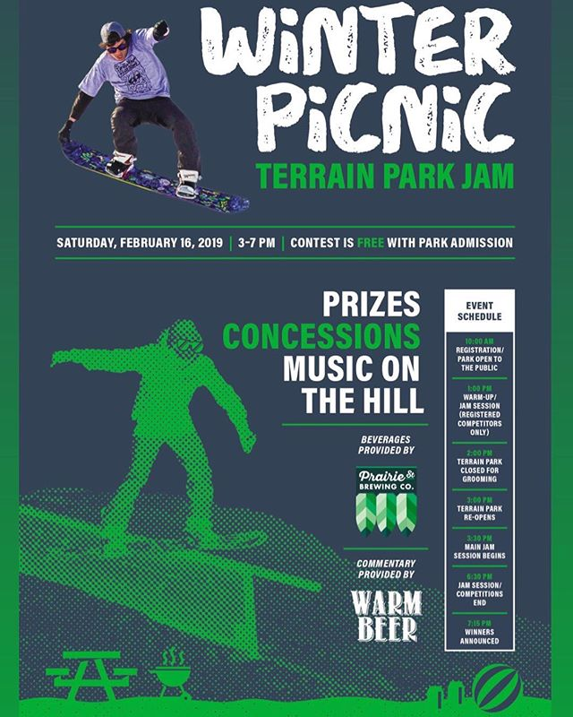 Come on out this Saturday, February 16th for our 2019 Winter Picnic! Join us and our friends from @drinkwarmbeer and @psbrewingco on the hill! There will be tons of prizes during the jam session to give out! We will have a fire on the patio to watch the jam session and competitions go down!  Tubing will still be operating so bring your family and friends out to the hill for a nice Winter Picnic! All talent levels welcomed! Bring your board or skis and come join us. #WinterPicnic2019 #RPDFun #Snowparkatalpinehills