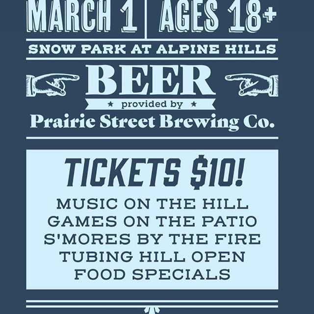 Come out tonight and enjoy the hill after hours! Our friends @psbrewingco will be joining us in the fun. There will be a fire on the patio and a new tube lane for everyone to try out. Hope to see you out here! #SnowParkAtAlpineHills #rpdfun #afterhours