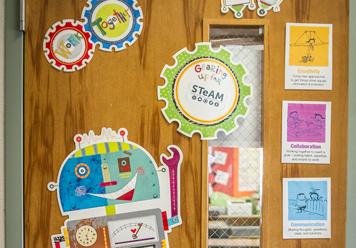 Camille Jones, 2017 Washington State Teacher of the Year. Classroom door, STEAM curriculum.