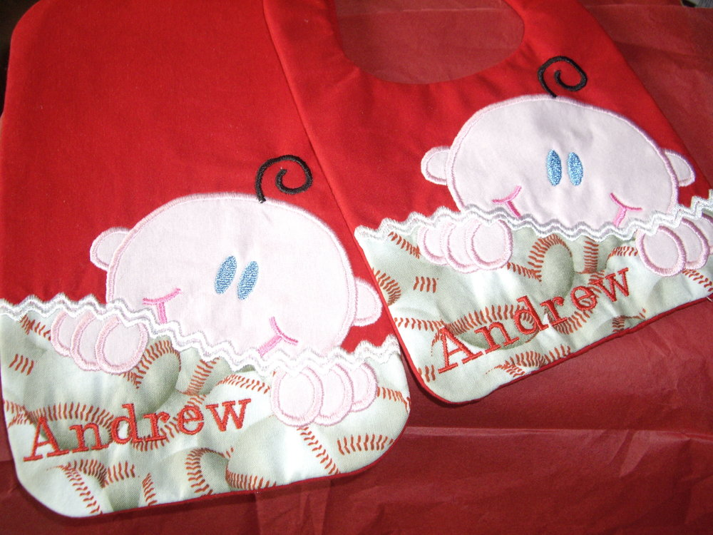Custom Peeking Baby Bib n Burp Cloth.jpg