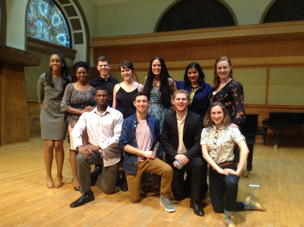 Broadway Bound 2 Performers  Pictured left to right (standing) Allie Woodson (NU) Katherine Bourne*(Roosevelt) Noah Landis, accompanist (NU) Delaney Feener* (De Paul) Lucy Godinez* (NU) Emily Jacob* (Roosevelt) Halle Bins (kneeling) Michael Morrow* (De Paul) Alex Schneidman (NU)  Tyler Lynch* (Roosevelt) Rebecca Whitehall* (Columbia) *Scholarship Winners