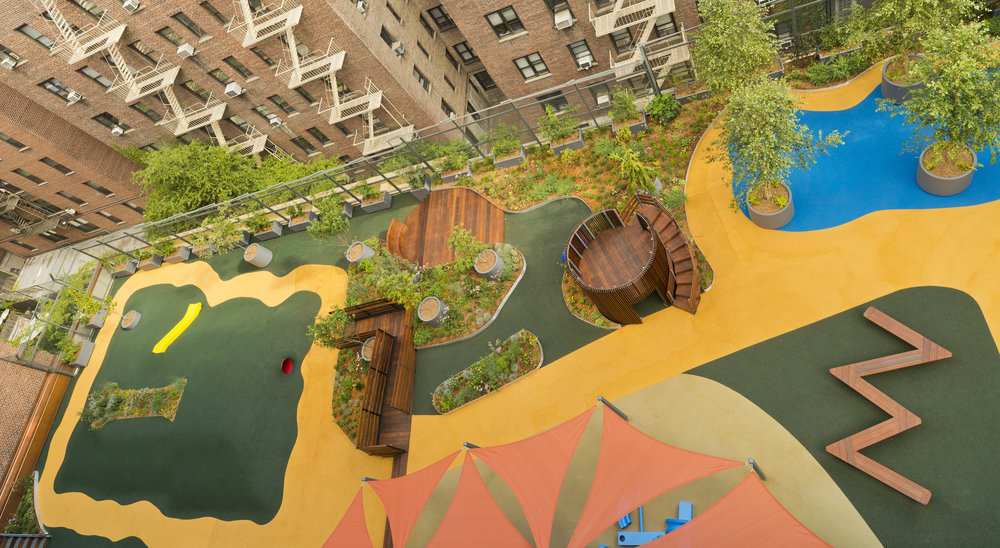A bird's eye view of the Lenox Hill Neighborhood House Playscape and Green Roof