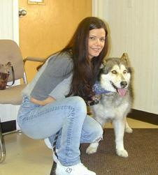 Elissa Smith and Meko.  Meko was treated with radiation therapy and chemotherapy to shrink her tumor which ultimately made it possible for surgical excision