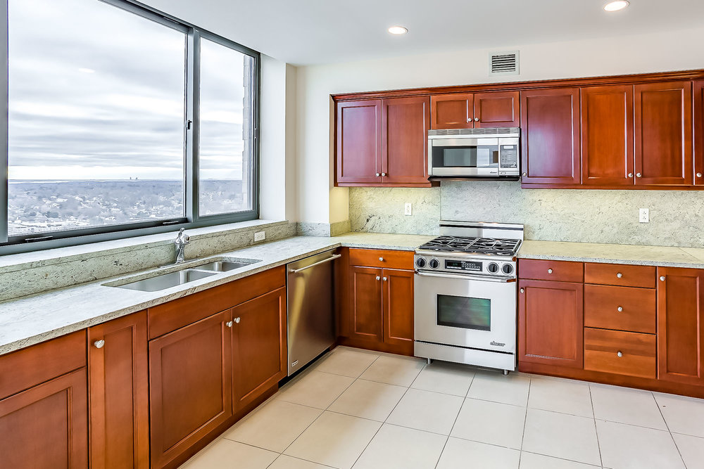 Luxury Condominium Kitchen at Trump Tower in White Plains, NY. Overlooking Southern Westchester with a view of New York City.