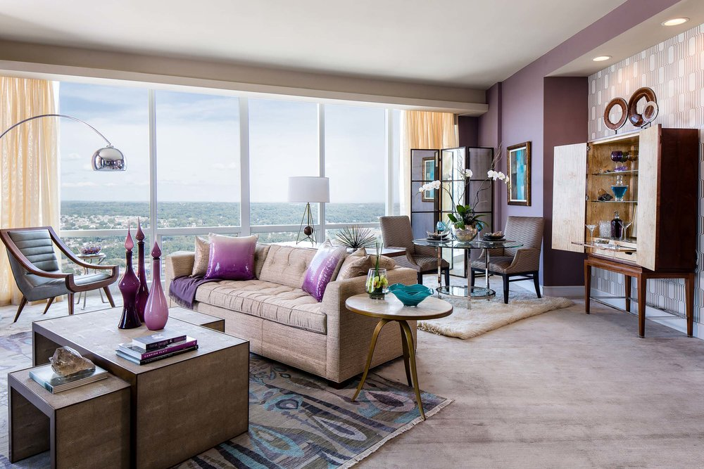 Living room in Luxury Condo for sale at the Ritz Carlton in White Plains, NY.