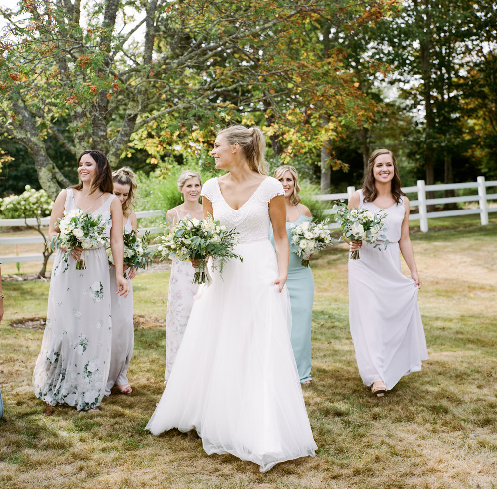 bride bridesmaids live well farm wedding