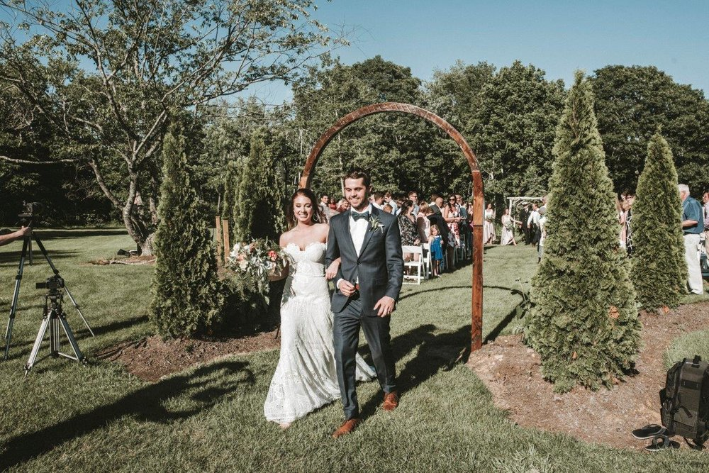 july maine wedding outdoor ceremony garden