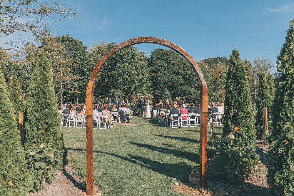 outdoor wedding ceremony garden september maine