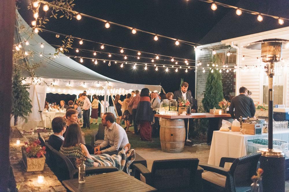 bistro lights wedding reception open air