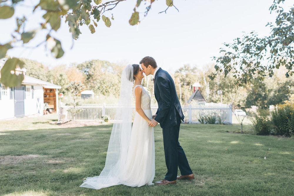 apple trees garden bride groom