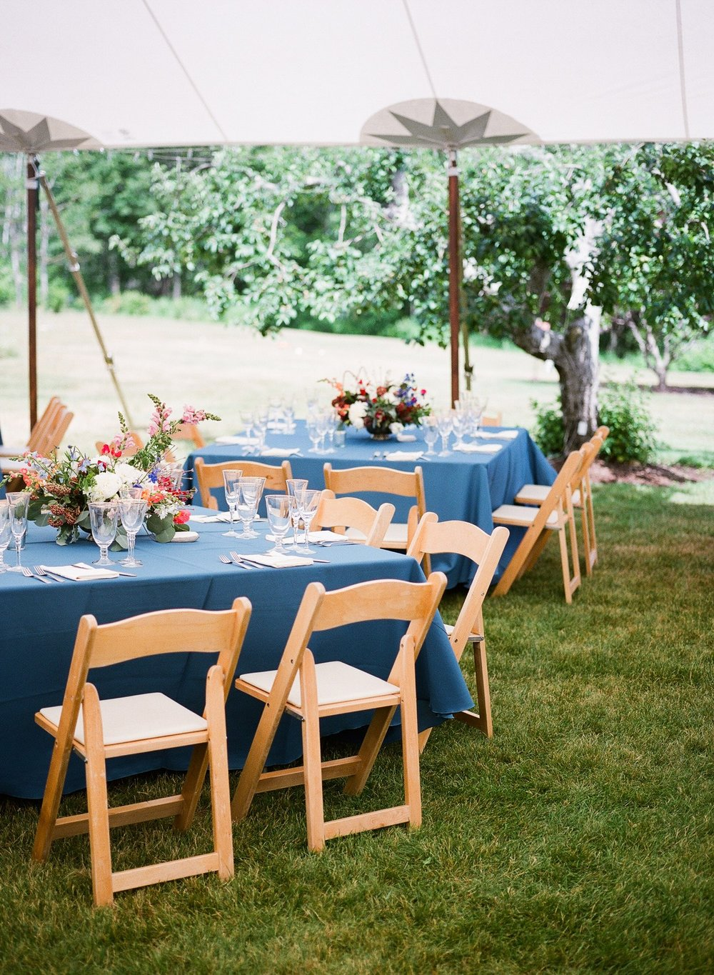 elegant tented summer wedding reception maine